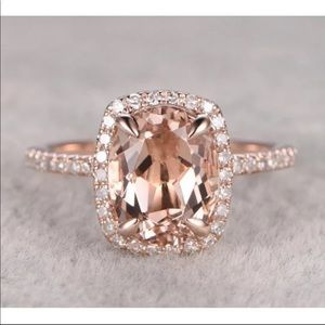New Rose Gold Oval Cut Champagne Ring
